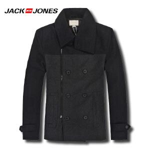 杰克琼斯秋冬季男士时尚拼色修身斜侧拉链夹克34-1-1-211427024105