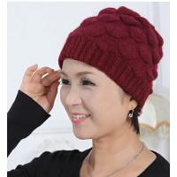 保暖毛线帽加厚棉帽盆帽女 贝雷帽女士 兔毛帽子老年人冬天中老年帽
