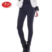 浪莎保暖裤 女士双层加绒厚款外穿牛仔裤 秋冬新款打底裤