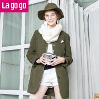 Lagogo冬季新款纯色圆领修身中长款毛呢大衣女韩版秋冬装呢子外套