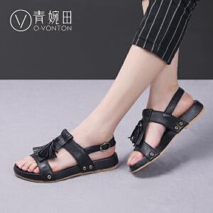 青婉田2017夏季新款欧美风真皮平底凉鞋平跟复古女鞋手工流苏凉鞋