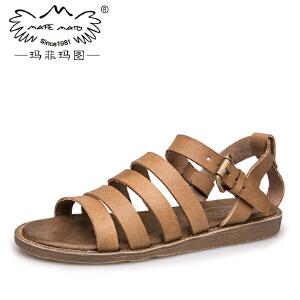 玛菲玛图女生凉鞋女夏学生平底欧美性感条纹复古皮带扣学院罗马凉鞋2017潮K2011-137
