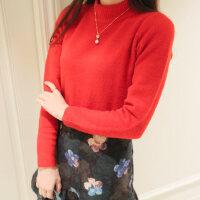 韩国复古套头针织打底衫韩版针织衫高腰短款半高领毛衣女秋冬