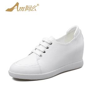 【17新品】阿么牛皮高跟单鞋坡跟系带内增高女鞋子学院风休闲板鞋潮