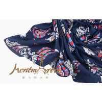 蒙马特大街艺术衍生品欧美风真丝披风佩斯利海军蓝棉布质感围巾披肩