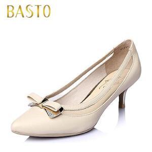 BASTO/百思图春季专柜同款羊皮淑女优雅女单鞋TSF24AQ6