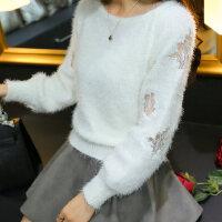 马海毛毛衣套头秋冬学院风线衣短款蕾丝拼接女海马毛毛衣冬款女士