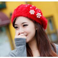 女 韩版英伦 贝雷帽 秋冬潮可爱季帽子  毛线帽兔毛针织女士冬天