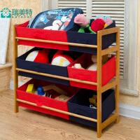 高档楠竹儿童玩具架创意收纳架楠竹布抽收纳箱组合置物架