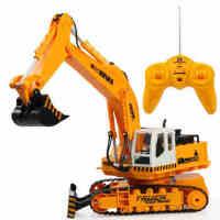 程遥控挖掘机 音乐遥控车玩具 挖土推土机 遥控工程车儿童玩具