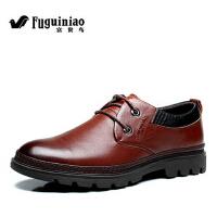 富贵鸟商务休闲皮鞋 韩版系带真皮男鞋真皮头层皮软面皮单鞋