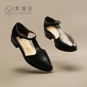 青婉田夏季新款玛丽珍鞋复古粗跟浅口中跟单鞋女休闲文艺女鞋真皮
