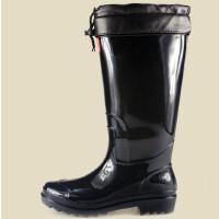 双星男高黑底水鞋TH-9926-2黑皮口棉套长毛内胆男款高筒雨鞋保暖水鞋