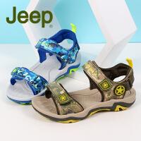 吉普童鞋 儿童凉鞋2017夏季3-18岁男童凉鞋中大小童包头露趾沙滩休闲鞋
