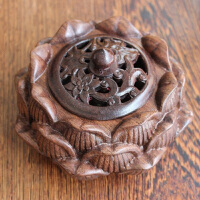 香道特色文化礼品 檀香盘香熏香炉 黑紫檀莲花香炉