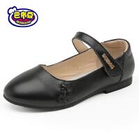 巴布豆童鞋 女童鞋2016春秋新款学生皮鞋单鞋公主鞋黑色女童皮鞋