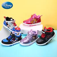 迪士尼儿童鞋男童运动鞋女童跑步鞋儿童闪灯鞋小童滑板闪灯鞋DS2090