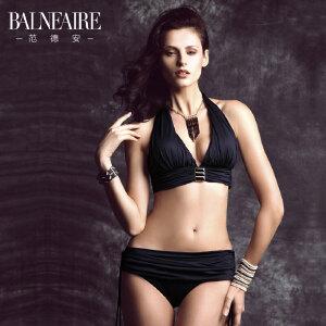 范德安性感分体裙式比基尼泳衣女黑色显瘦大小胸聚拢大码沙滩泳装