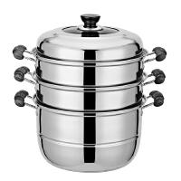 丽威 不锈钢三层蒸锅加厚复底不锈钢三层蒸锅复底蒸笼蒸锅炖锅蒸煮锅 特价24-34cm