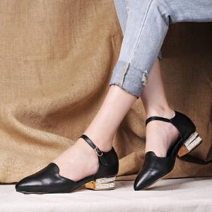 贝鸵秋新真皮女鞋浅口绊带中空单鞋女手工镶钻中跟粗跟牛皮鞋优雅0003