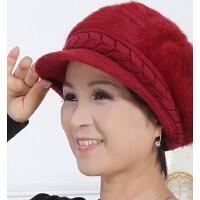 贝雷帽棉帽中老年人老人帽女 韩版加厚兔毛帽保暖女冬天