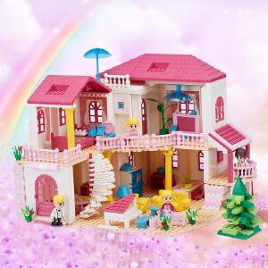 橙爱智慧帆 乐高式拼插积木 DIY小屋别墅女孩拼装积木玩具 儿童益智过家家娃娃屋塑料拼搭玩具 礼物
