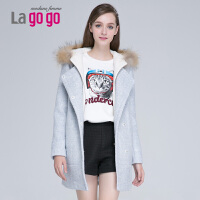Lagogo冬新款带毛领毛呢大衣女外套 EDH973B515