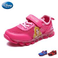 迪士尼童鞋2017夏季新款单网运动鞋男童女童网布鞋网眼鞋发光灯鞋 DS2268