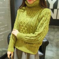 高领毛衣女冬加厚短款韩国女士冬款麻花衣粗线韩版套头学生打底衫