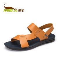 康龙男凉鞋新款真皮沙滩鞋男鞋韩版潮透气休闲夏季凉拖两用