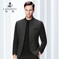 浪登2017春装新品立领时尚单西羊毛料两扣休闲西服外套K4049