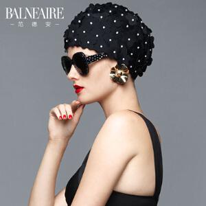 范德安时尚舒适长发手工花瓣护耳泳帽女长短发成人大号布游泳帽子