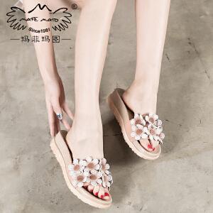 玛菲玛图 外出拖鞋女夏时尚外穿2017新款真皮复古一字型个性花朵坡跟凉拖鞋 815C-19