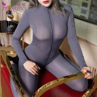 【久朝货到付款】情趣内衣性感透明连裤袜极度诱惑女长筒袜12D硅胶防滑黑丝袜7230