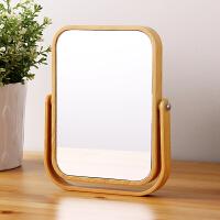 欧润哲 卧室原木色双面台式化妆镜 可旋转放大梳妆镜清晰化妆镜子
