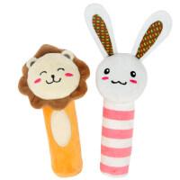 橙爱cheerbb 兔子狮子动物BIBI棒 0-1岁宝宝手摇铃玩偶玩具 初生婴儿毛绒手偶