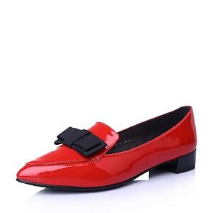 BASTO/百思图春季专柜同款牛皮蝴蝶结女单鞋TR821AQ6