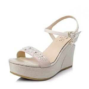 BASTO/百思图夏季羊绒皮革女皮凉鞋TG503BL6