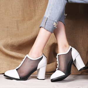 贝鸵 新款女士真皮网纱单鞋 优雅OL粗跟高跟牛皮包头女鞋子潮