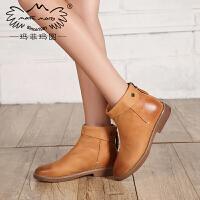 玛菲玛图马丁靴女英伦风短靴潮女短靴秋冬低跟欧美女靴109-2秋季新品