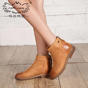 玛菲玛图马丁靴女英伦风短靴潮女短靴秋冬低跟欧美女靴109-2秋季清仓