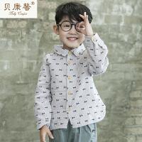 【当当自营】贝康馨童装 男童小鱼个性衬衫 韩版纯棉百搭时尚衬衣新款秋装