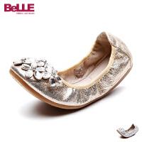 百丽Belle童鞋儿童皮鞋2017春夏新款中大童水钻蛋卷鞋舞蹈鞋女童单鞋 DE0330