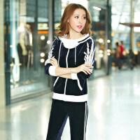 运动套装女韩国天鹅绒休闲套装 女 秋装长袖卫衣套装