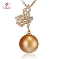 先恩尼珍珠 黄18K金 金珍珠 群镶钻石珍珠项链 蝴蝶扣头 珍珠吊坠HFZZXL066