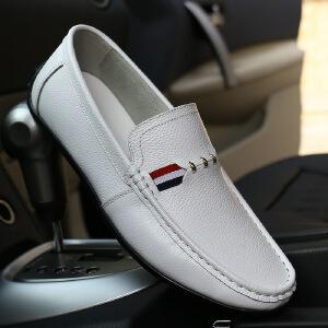 2017春季新款男士舒适驾车鞋豆豆鞋真皮套脚鞋休闲鞋男鞋商务休闲皮鞋子8027BBS支持货到付款
