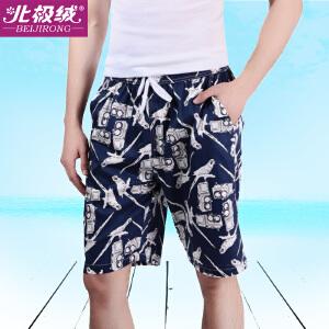 北极绒男士沙滩裤睡裤运动五分裤休闲宽松家居裤夏季