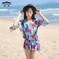 舒漫新款16116泳衣钢托聚拢韩版比基尼三件套高腰温泉游泳衣