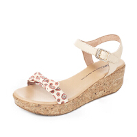Tata/他她夏季潮流印花布蝴蝶结一字带坡跟女凉鞋2X312BL6
