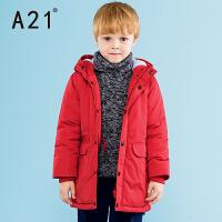 以纯A21童装长袖连帽加厚棉衣男童中大童2016冬款保暖外套大衣